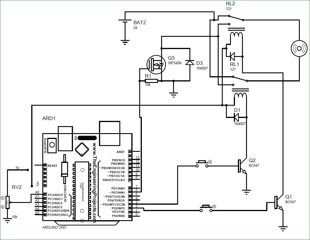 کنترل سرعت وجهت حرکت موتور dc با کمک آردوینو