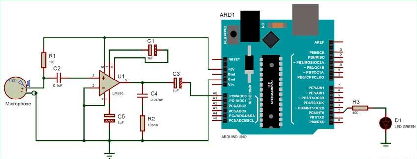 اندازه گیری سطح صدا با آردوینو بر حسب دسی بل با میکروفون