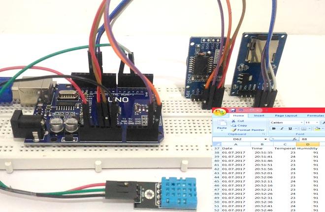 فرستنده اطلاعات آردوینو(مانند دما، رطوبت و زمان) به کارت SD و کامپیوتر