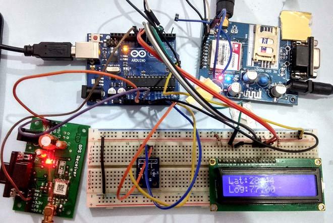 سیستم هشدار دهنده خودرو مبتنی بر آردوینو با استفاده از GPS، GSM و شتاب سنج