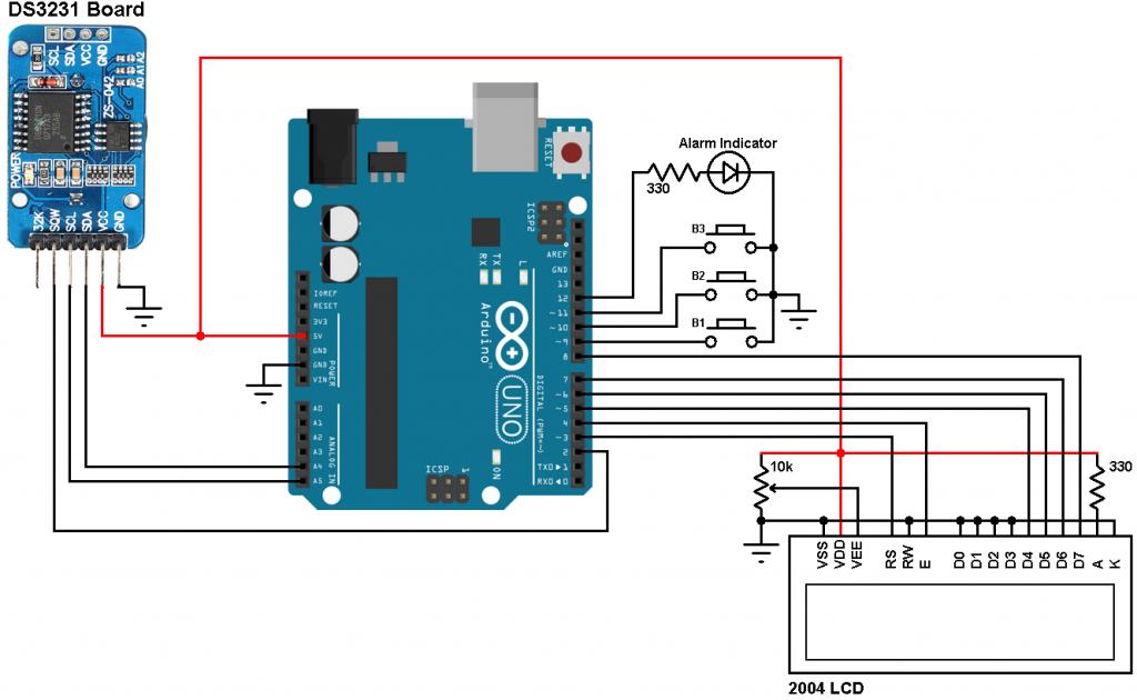 ساخت-ساعت دقیق-بهمراه-آلارم-و نمایشگر-دما با-آردوینو-و-ماژول-DS3231