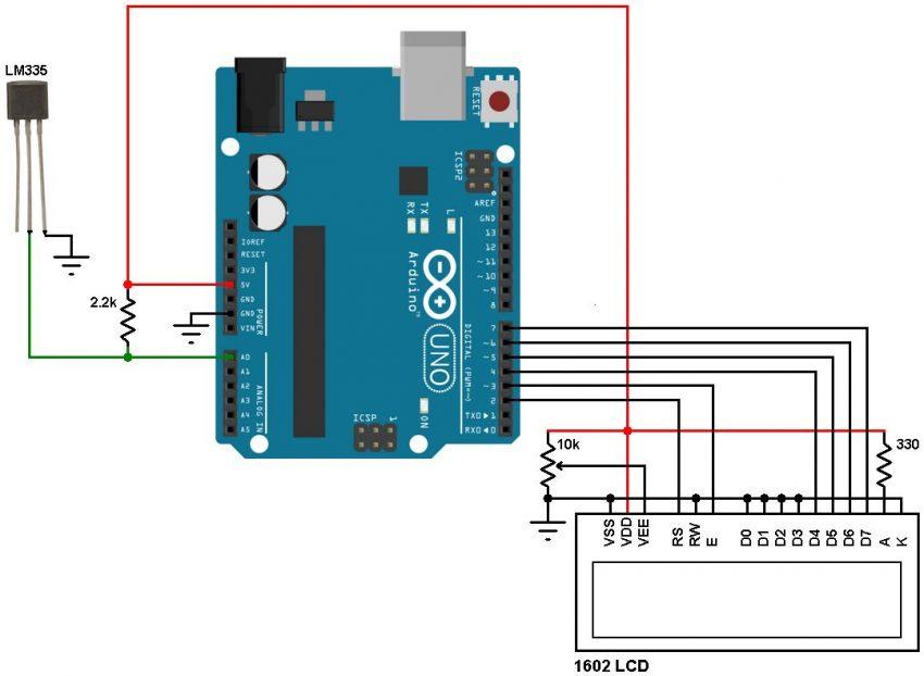 دماسنج دیجیتال با استفاده از آردوینو و سنسور دما LM335