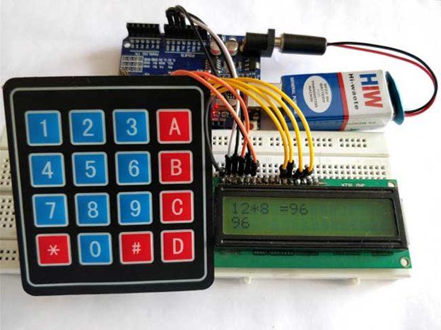 ماشین حساب آردوینو با استفاده از صفحه کلید 4x4